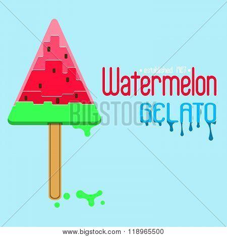 Watermelon gelato (ice-cream) logo