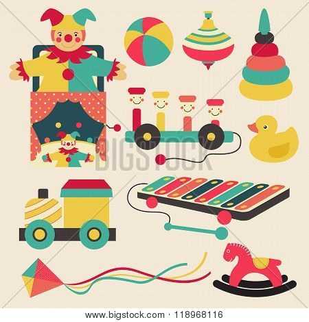 Old Retro Kid Toys And Circus Carnivals Object Flat Icon Design In Pastel Color Style, Create By Vec