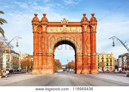 Arc De Triomph In Barcelona, Catalonia Spain
