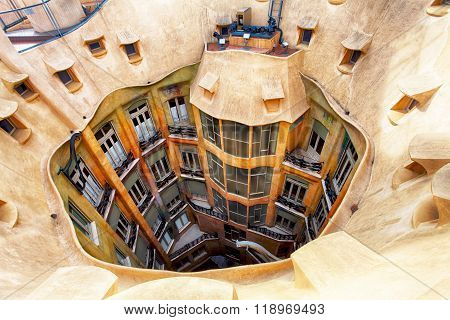 Barcelona, Spain - February 9, 2016: Closeup Of Casa Mila (la Pedrera) In Barcelona, Catalonia. Hous