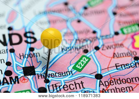 Hilversum pinned on a map of Netherlands
