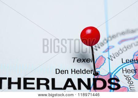 Den Helder pinned on a map of Netherlands