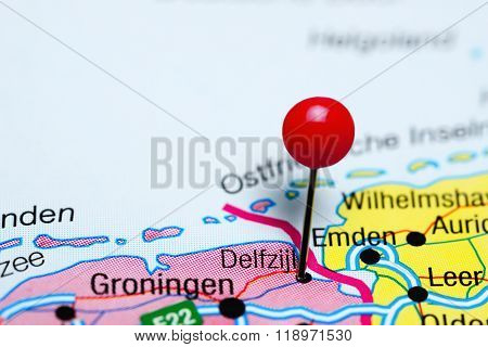 Delfzijl pinned on a map of Netherlands