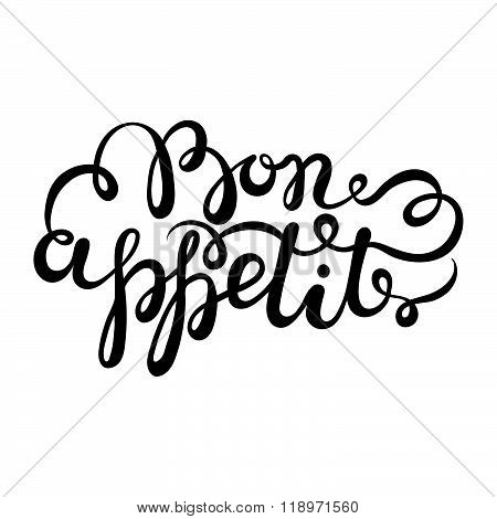 Bon Appetit Hand Drawn Pen Brush Lettering