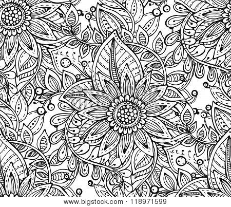 Vector Seamless Floral Pattern With Fancy Flowers