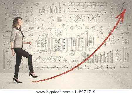 Business woman climbing on red graph arrow concept on background