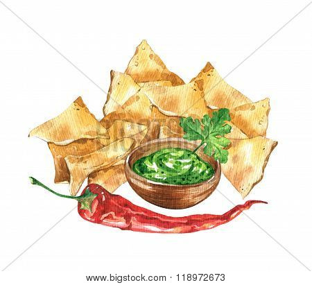 Nacho chips and guacamole sauce. Mexican national food.