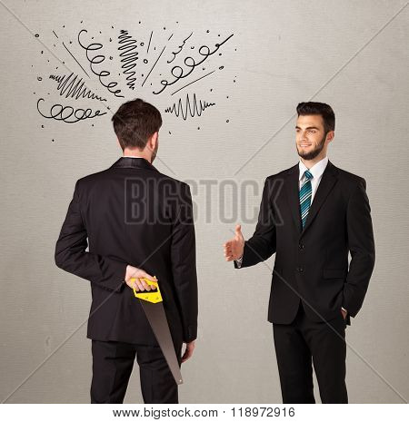 Ruthless businessman handshake with a hiding weapon and drawn curly lines around his head