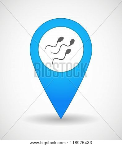 Map Mark Icon With Sperm Cells