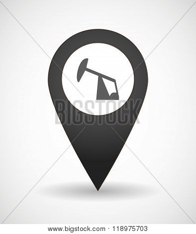 Map Mark Icon With A Horsehead Pump