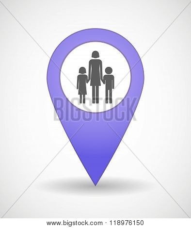 Map Mark Icon With A Female Single Parent Family Pictogram