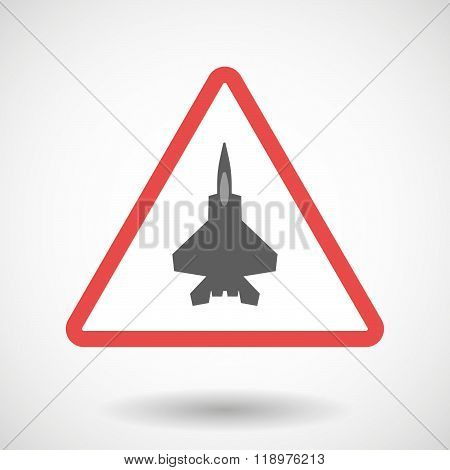 Warning Signal Icon With A Combat Plane