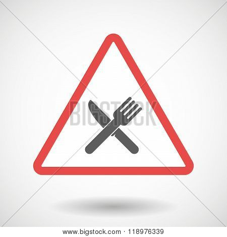 Warning Signal Icon With A Knife And A Fork