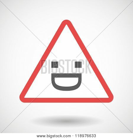 Warning Signal Icon With A Laughing Text Face