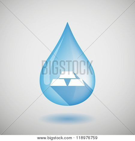 Long Shadow Water Drop Icon With A Won Currency Sign