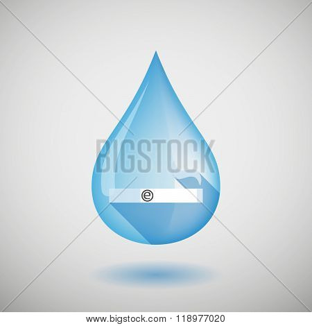 Long Shadow Water Drop Icon With An Electronic Cigarette