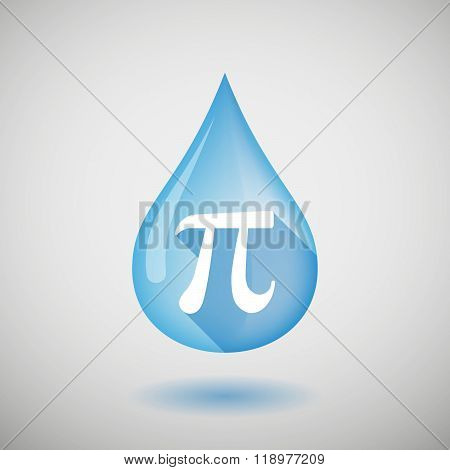 Long Shadow Water Drop Icon With The Number Pi Symbol