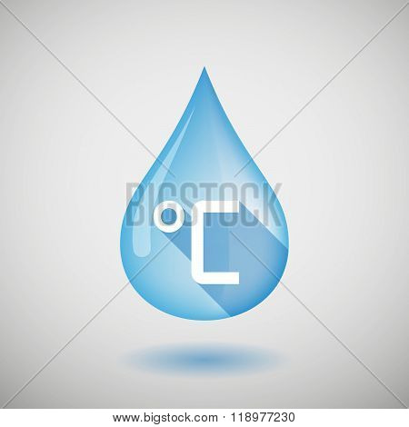 Long Shadow Water Drop Icon With  A Celsius Degree Sign