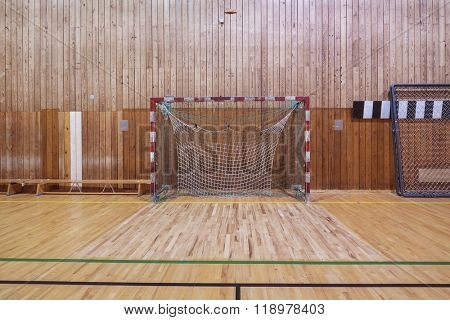 Old and worn indoor soccer gymhall