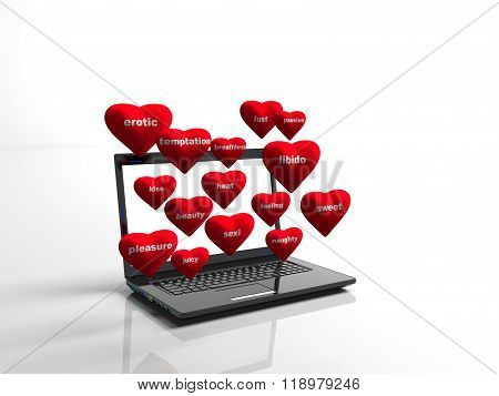 hearts background on modern laptop isolated
