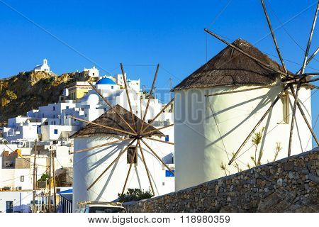 windmills of Greece. Serifos island,Hora village, Cyclades