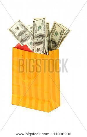 Shopping bag filled with hudred dollars