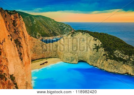 Shipwreck Bay in stormy weather, Navagio Beach on Zakynthos Island in Greece