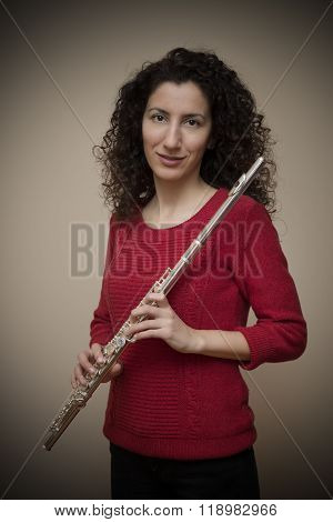 Woman Posing With Her Flute