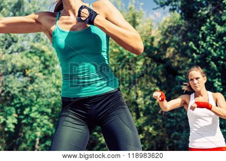 Young Woman During Taebo Training
