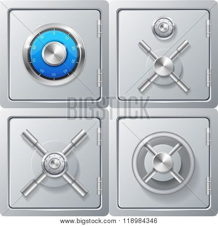 Realistic Metal Safe Set. Vector