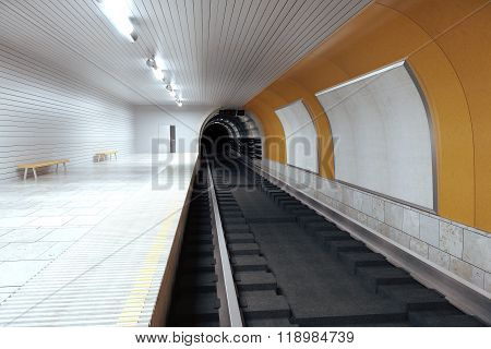 Blank Billboards On Subway Wall And Empty Hall, Mock Up