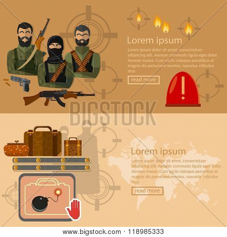 Terrorism Banners Global Threat World Terror Group Terrorists Airport Security