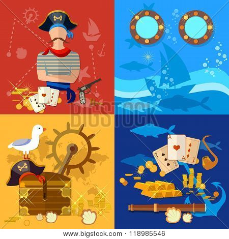 Pirate Adventure Set Treasure Chest Flask Of Rum Seagull Pirate Ship Vector Illustration