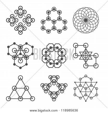 Set of line abstract geometric logotypes. Set of abstract geometric shapes, triangles, line design,