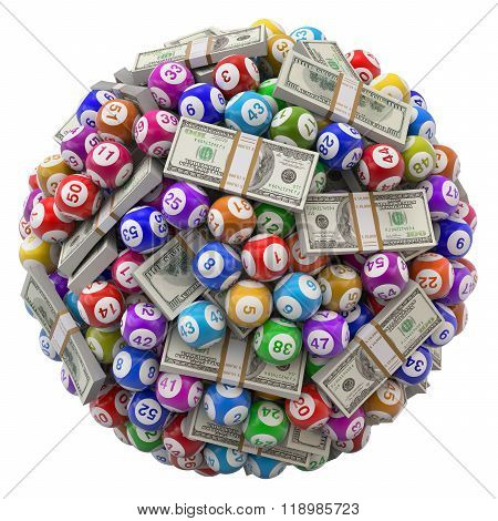 Lottery balls and stack of dollars isolated on white background