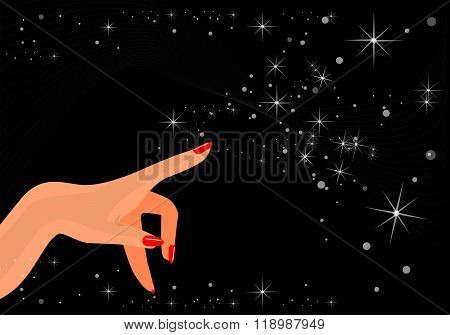 Magic Female Hand And Arm With Red Classic Manicure Specifing For Something On Black Background Sky