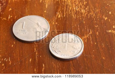 Indian Currency One Rupee Coin