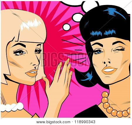 Gossiping Women - Retro Clip Art