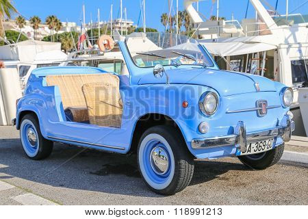 Light Blue Fiat 600 Jolly Convertible In Cannes