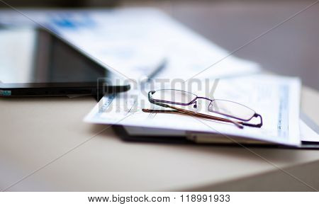 Beautiful Business Woman. View Very Important Documents.