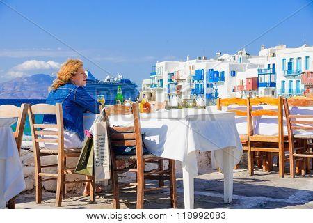Village And Beach Scene, Mykonos