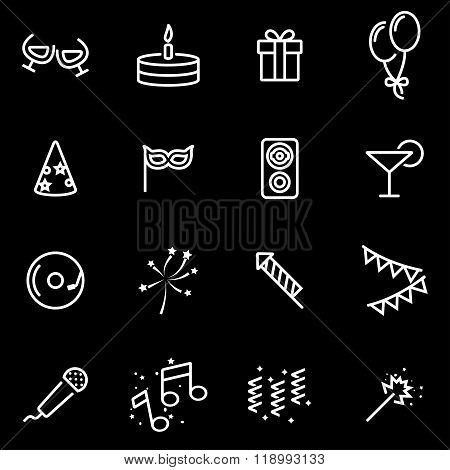 Vector line birthday icon set