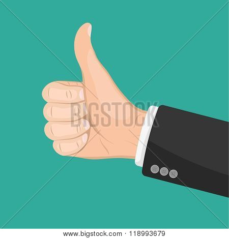 Realistic Hand With Thumbs Up