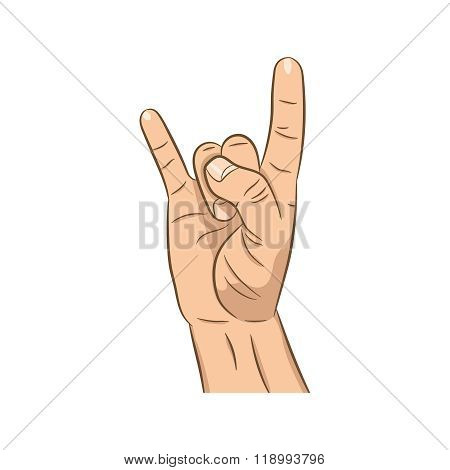 Realistic Hand With Rock N Roll Sign