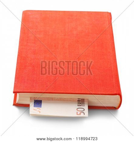Red book with nested euro banknotes, isolated on white. Stash of money