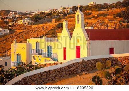 Houses And Churches In Mykonos