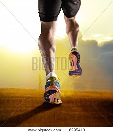 Close Up Feet With Running Shoes And Strong Athletic Legs Of Sport Man Jogging In Fitness Training S