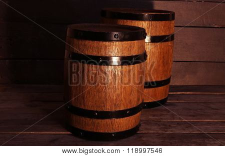 Two old wooden wine barrels, closeup