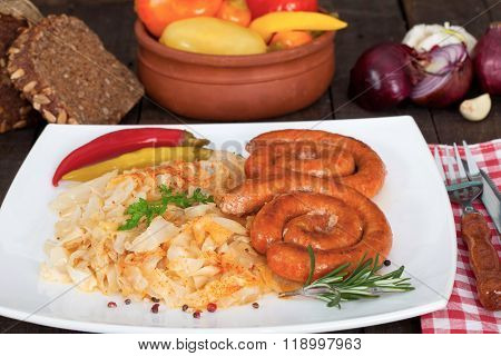 German bratwurst sausages with sauerkraut