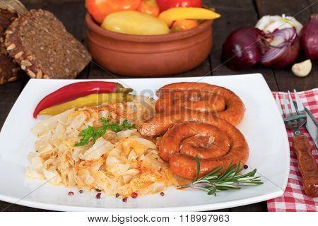 German bratwurst sausages with sauerkraut